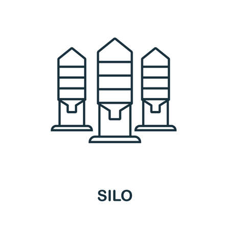 Silo icon. Thin line style element from farm icons collection. Outline Silo icon for computer and mobile. 스톡 콘텐츠 - 139717983
