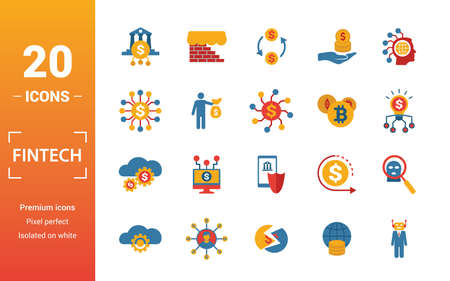 Fintech icon set. Include creative elements online banking, direct payment, fintech, cryptocurrency, fintech industry icons. Can be used for report, presentation, diagram, web design. Stock Illustratie