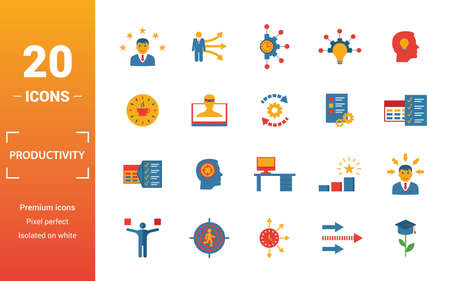 Productivity icon set. Include creative elements skill, time management, coffee break, work plan, daily tasks icons. Can be used for report, presentation, diagram, web design. Stock Illustratie
