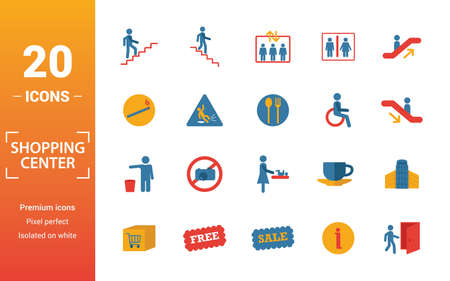 Shopping Center Icons icon set. Include creative elements stairway up, elevator, smoking, disabled, garbage icons. Can be used for report, presentation, diagram, web design. Illustration