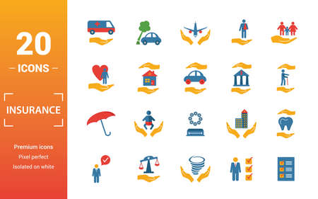 Insurance icon set. Include creative elements medical insurance, travel, life insurance, finance insurance, protection icons. Can be used for report, presentation, diagram, web design. Illustration