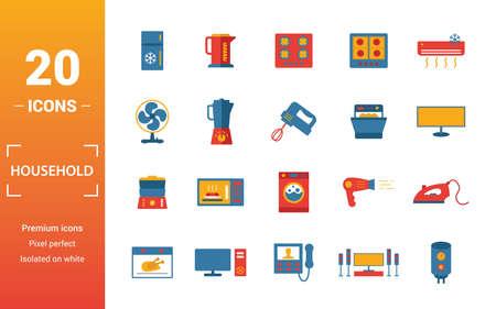 Huishoudelijke pictogrammenset. Inclusief creatieve elementen koelkast, elektrische kookplaat, ventilator, vaatwasser, dubbele boiler pictogrammen. Kan worden gebruikt voor rapport, presentatie, diagram, webdesign.