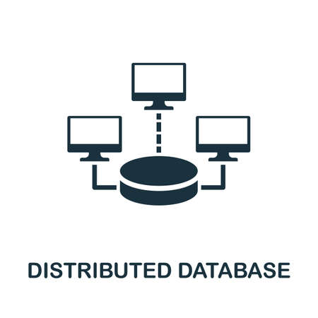 Distributed Database icon. Simple element from data organization collection. Filled Distributed Database icon for templates, infographics and more. Ilustrace