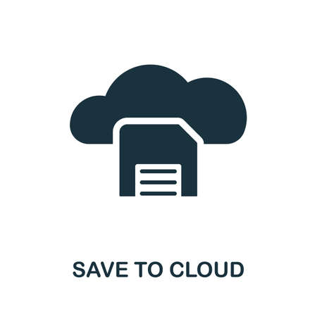 Save To Cloud icon. Simple element from data organization collection. Filled Save To Cloud icon for templates, infographics and more. Ilustrace