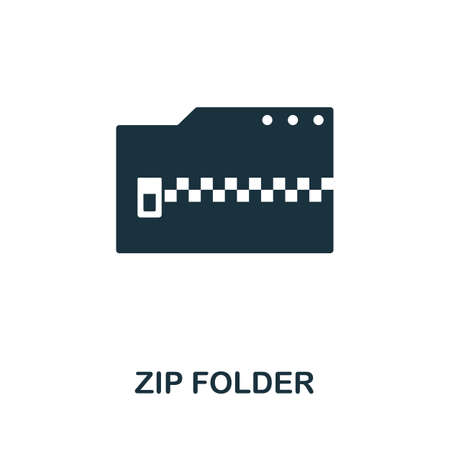Zip Folder icon. Simple element from data organization collection. Filled Zip Folder icon for templates, infographics and more.