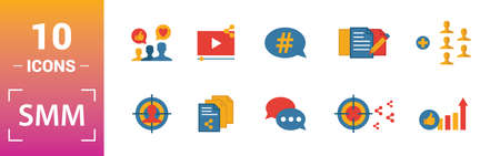 Smm icon set. Include creative elements content, copywriting, user information, budget planning, tops and ratings icons. Can be used for report, presentation, diagram, web design.