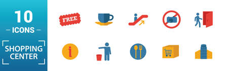 Shopping Center Icons icon set. Include creative elements stairway up, elevator, smoking, disabled, garbage icons. Can be used for report, presentation, diagram, web design. Иллюстрация