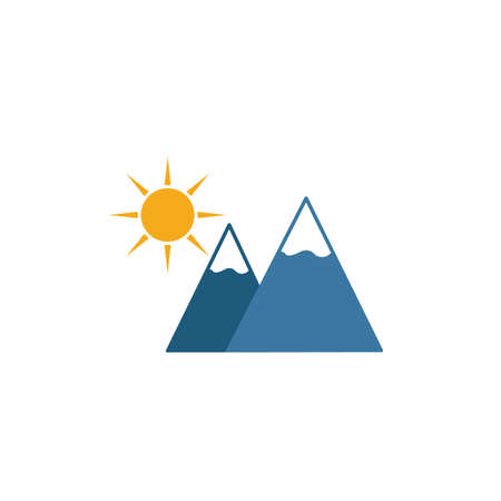 Sun And Mountains icon. Simple element from travel icons collection. Creative Sun And Mountains icon ui, ux, apps, software and infographics. 向量圖像