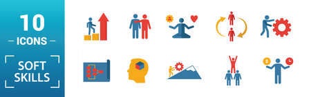 Soft Skills icon set. Include creative elements team spirit, personality, self-promotion, motivating, negotiation icons. Can be used for report, presentation, diagram, web design. 向量圖像
