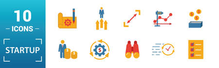 Startup icon set. Include creative elements goal, business plan, prototype, business incubator, vision icons. Can be used for report, presentation, diagram, web design.