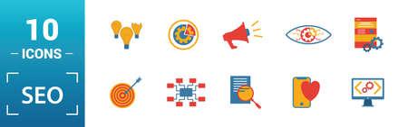 Seo icon set. Include creative elements search optimization, search result, right solution, code optimization, website optimization icons. Can be used for report, presentation, diagram, web design.