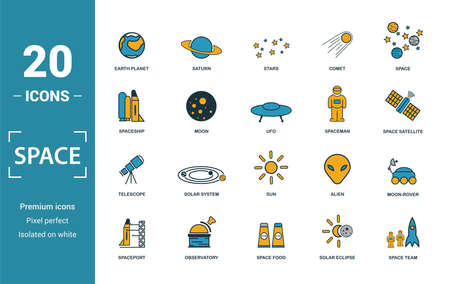 Space icon set. Include creative elements earth planet, stars, spaceship, spacemen, telescope icons. Can be used for report, presentation, diagram, web design. 向量圖像