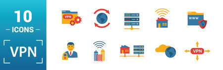 Vpn icon set. Include creative elements , archiving, site security, home server, cloud storage hacking icons. Can be used for report, presentation, diagram, web design.