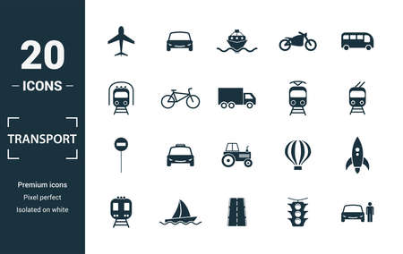 Transport icon set. Include creative elements car, motorcycle, bicycle, troleibus, taxi icons. Can be used for report, presentation, diagram, web design