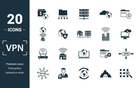 Vpn icon set. Include creative elements , archiving, site security, home server, cloud storage hacking icons. Can be used for report, presentation, diagram, web design