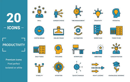 Productivity icon set. Include creative elements skill, time management, coffee break, work plan, daily tasks icons. Can be used for report, presentation, diagram, web design 向量圖像