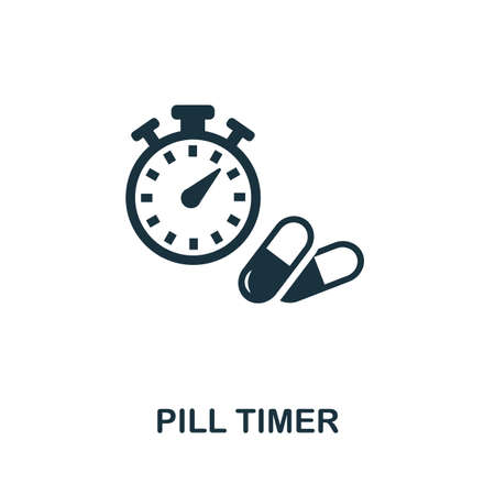 Pill Timer icon. Simple element from digital healthcare collection. Filled Pill Timer icon for templates, infographics and more.