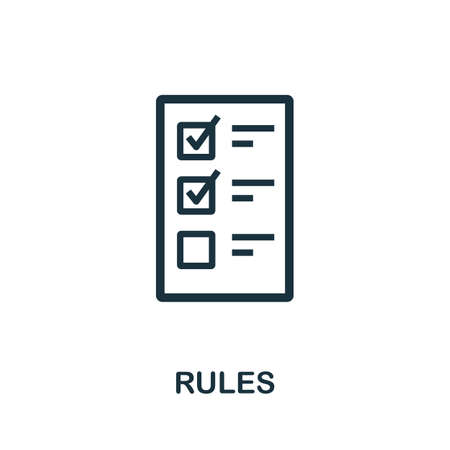 Rules icon. Simple element from regulation collection. Filled Rules icon for templates, infographics and more.
