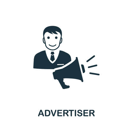 Advertiser icon. Simple element from affiliate marketing collection. Filled Advertiser icon for templates, infographics and more.