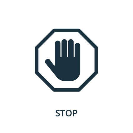 Stop icon. Simple element from navigation collection. Filled Stop icon for templates, infographics and more. Ilustração