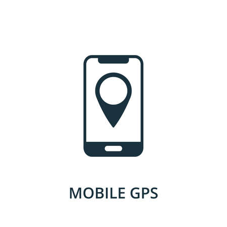 Mobile Gps icon. Simple element from navigation collection. Filled Mobile Gps icon for templates, infographics and more. 矢量图像