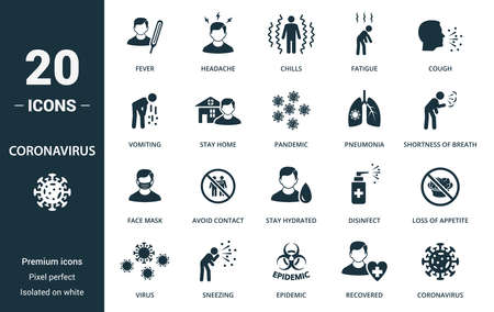 Coronavirus icon set. Collection contain fever, headache, chills, fatigue, cough, vomiting, stay, home, pandemic, pneumonia, shortness, coronavirus and over icons. Coronavirus elements set.