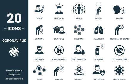 Coronavirus icon set. Collection contain fever, headache, chills, fatigue, cough, vomiting, stay, home, pandemic, pneumonia, shortness, coronavirus and over icons. Coronavirus elements set. Vektoros illusztráció