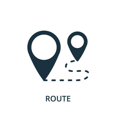 Route icon. Simple element from navigation collection. Filled Route icon for templates, infographics and more. Ilustração