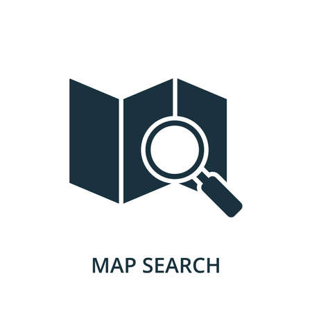 Map Search icon. Simple element from navigation collection. Filled Map Search icon for templates, infographics and more. 矢量图像