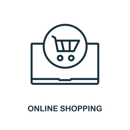 Online Shopping icon. Line style simple element from e-commerce icons collection. Pixel perfect simple online shopping icon for web design, apps, software, print usage.