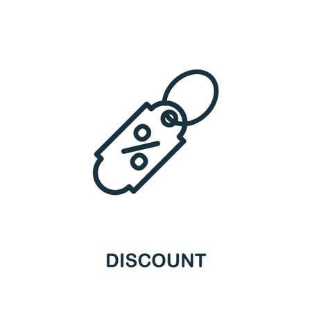 Discount icon. Line style simple element from e-commerce icons collection. Pixel perfect simple discount icon for web design, apps, software, print usage.