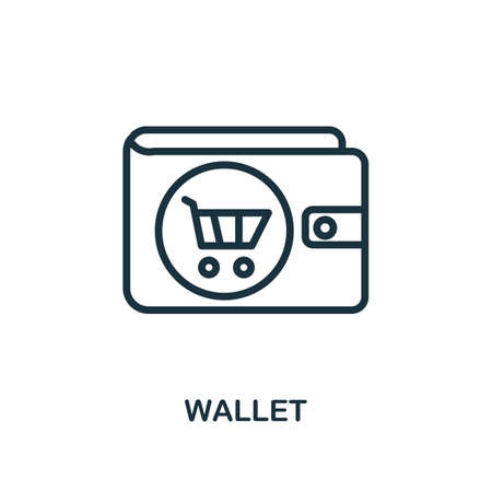 Wallet icon. Line style simple element from e-commerce icons collection. Pixel perfect simple wallet icon for web design, apps, software, print usage.