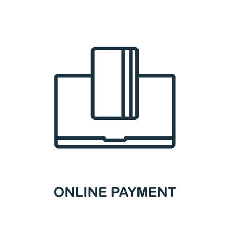 Online Payment icon. Line style simple element from e-commerce icons collection. Pixel perfect simple online payment icon for web design, apps, software, print usage. 矢量图像