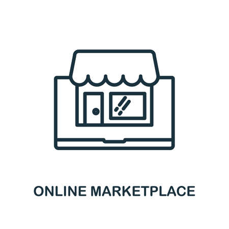 Online Marketplace icon. Line style simple element from e-commerce icons collection. Pixel perfect simple online marketplace icon for web design, apps, software, print usage.