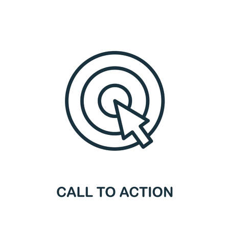 Call To Action icon. Line style simple element from e-commerce icons collection. Pixel perfect simple call to action icon for web design, apps, software, print usage. Ilustração