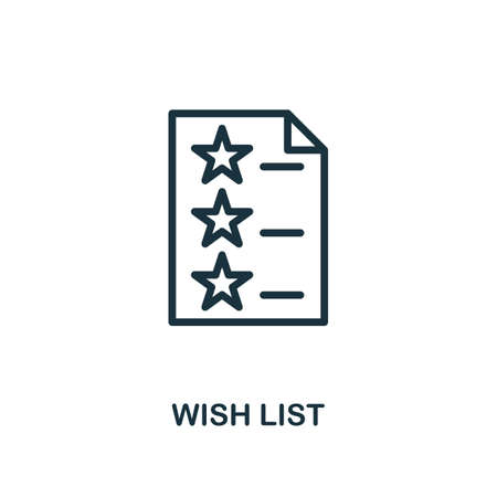 Wish List icon. Line style simple element from e-commerce icons collection. Pixel perfect simple wish list icon for web design, apps, software, print usage.
