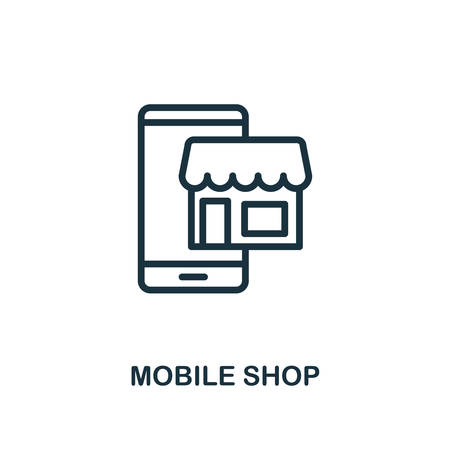 Mobile Shop icon. Line style simple element from e-commerce icons collection. Pixel perfect simple mobile shop icon for web design, apps, software, print usage.