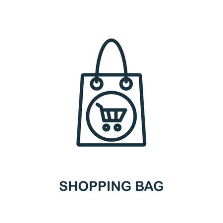 Shopping Bag icon. Line style simple element from e-commerce icons collection. Pixel perfect simple shopping bag icon for web design, apps, software, print usage.