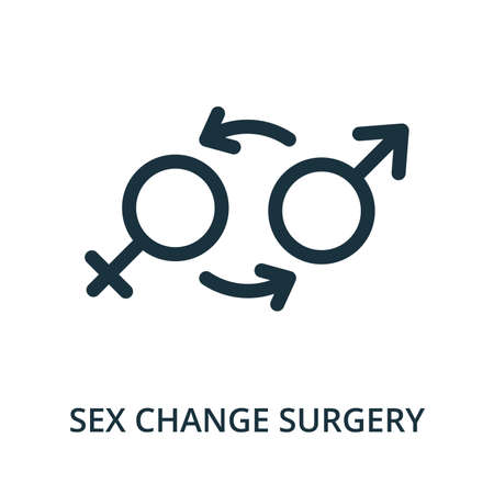 Sex Change Surgery icon from plastic surgery collection. Simple line element Sex Change Surgery symbol for templates, web design and infographics Ilustracja