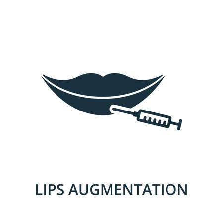 Lips Augmentation icon from plastic surgery collection. Simple line element Lips Augmentation symbol for templates, web design and infographics 矢量图像