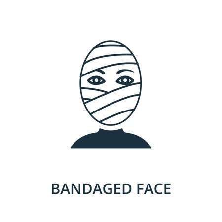 Bandaged Face icon from plastic surgery collection. Simple line element Bandaged Face symbol for templates, web design and infographics