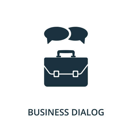 Business Dialog icon from reputation management collection. Simple line element business dialog symbol for templates, web design and infographics.