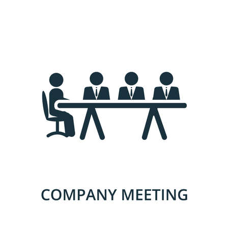 Company Meeting icon from reputation management collection. Simple line element company meeting symbol for templates, web design and infographics.