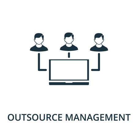 Outsource Management icon from reputation management collection. Simple line element outsource management symbol for templates, web design and infographics.