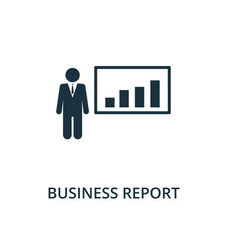 Business Report icon from reputation management collection. Simple line element business report symbol for templates, web design and infographics. Zdjęcie Seryjne - 148736124