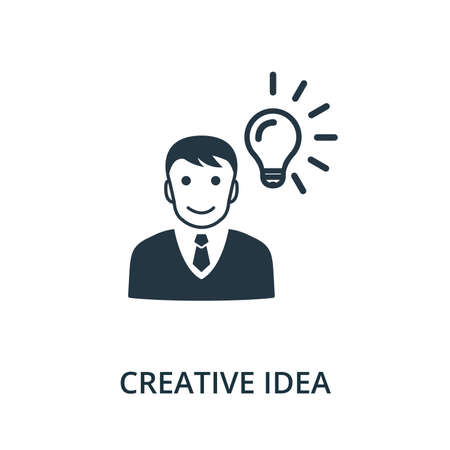 Creative Idea icon from reputation management collection. Simple line element creative idea symbol for templates, web design and infographics.