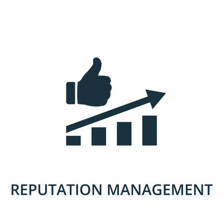 Reputation Management icon. Simple line element reputation management symbol for templates, web design and infographics. Ilustracja