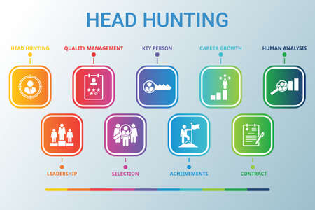 Head Hunting data infographics visualization. Process chart. Diagram with steps, Diagramparts or processes. Vector HEAD HUNTING icon template for presentation. Creative infographic. 免版税图像 - 148912408
