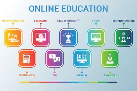 Online Education data infographics visualization. Process chart. Diagram with steps, options or processes. Vector ONLINE EDUCATION icon template for presentation. Creative concept for infographic Ilustracja