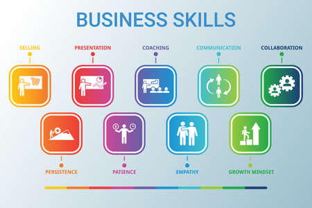 Business Skills data infographics visualization. Process chart. Diagram with steps, options or processes. Vector BUSINESS SKILLS icon template for presentation. Creative concept for infographic 免版税图像 - 149309086